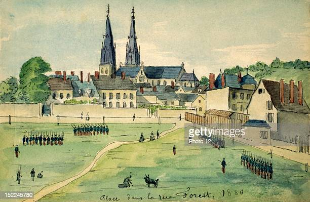 CharlevilleMezieres Square in Rue Forest watercolor France Departmental Archives of the Ardennes