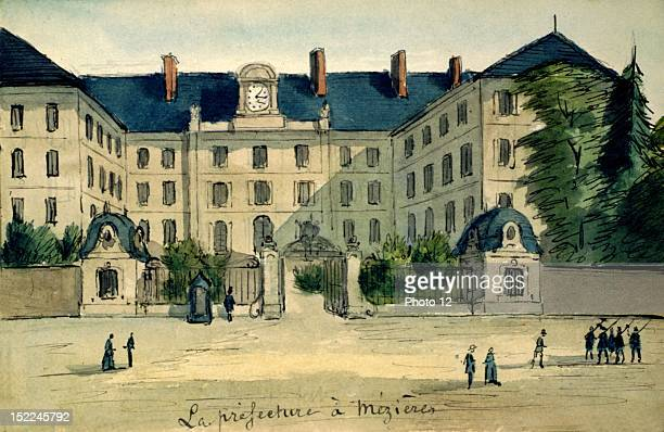 CharlevilleMezieres The Prefecture watercolor France Departmental Archives of the Ardennes