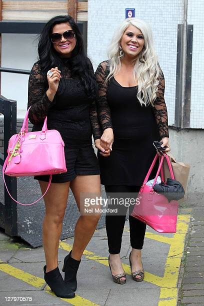Charley Bird and Lucy Texeira from X-Factor Group 'Two Shoes' are seen leaving the ITV Studios on October 4, 2011 in London, England.