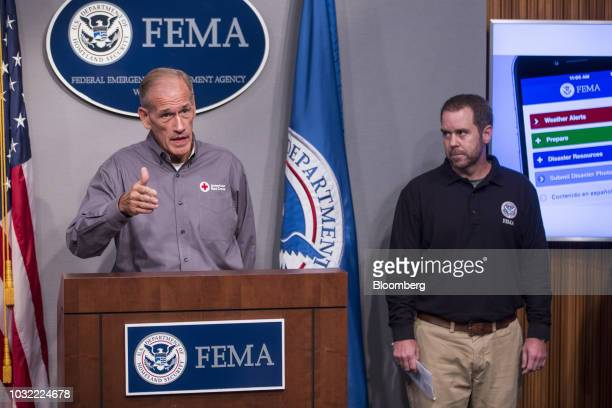 Charley English National Emergency Management liaison for the American Red Cross left speaks during a press conference on Hurricane Florence...