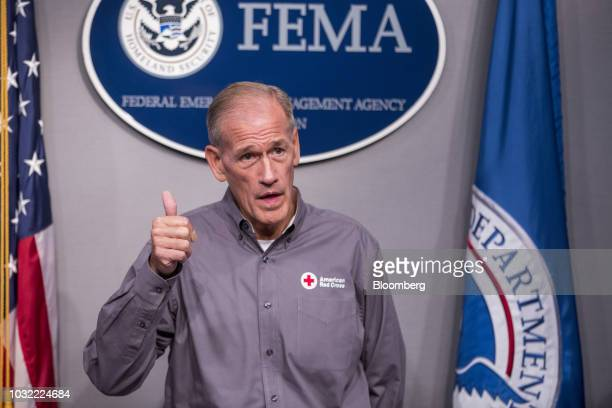 Charley English National Emergency Management liaison for the American Red Cross speaks during a press conference on Hurricane Florence preparations...