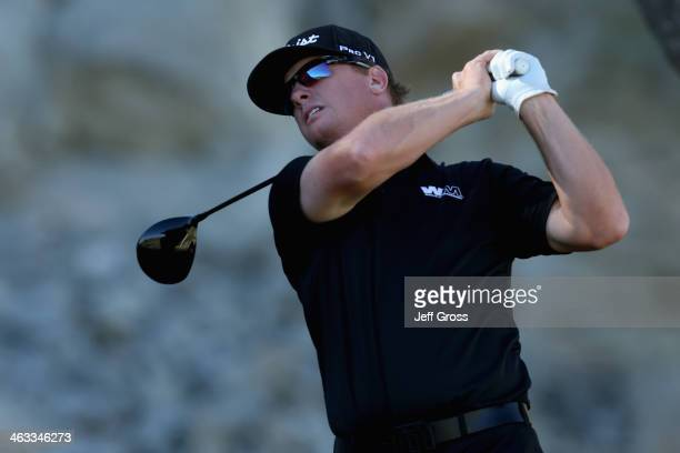 Charley Hoffman hits a tee shot on the fourth hole of the Jack Nicklaus Private Course at PGA West during the second round of the Humana Challenge in...