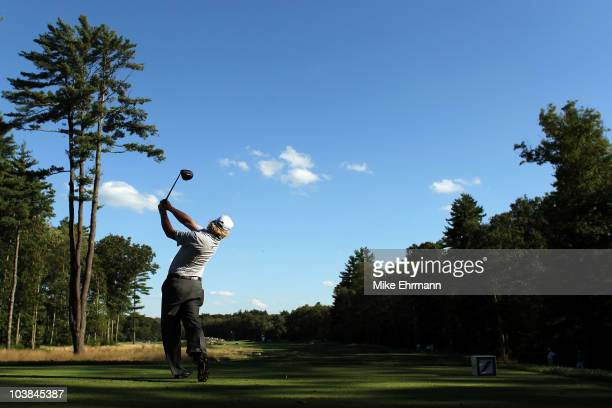 Charley Hoffman hits a tee shot on the sixth tee during the second round of the Deutsche Bank Championship at TPC Boston on September 4 2010 in...