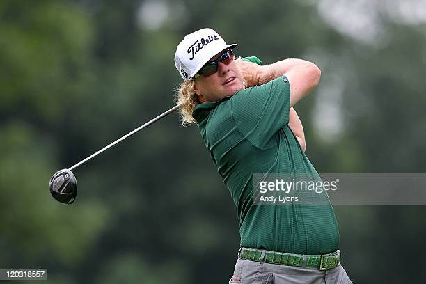 Charley Hoffman hits his tee shot on the third hole during the first round of the World Golf ChampionshipsBridgestone Invitational on the South...