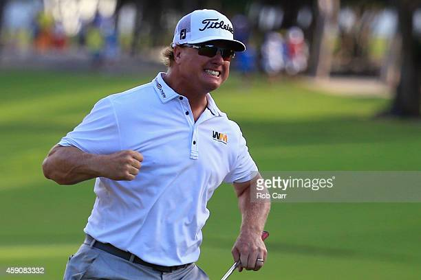Charley Hoffman of the United States celebrates after putting out on the 18th hole to win the final round of the OHL Classic at the Mayakoba El...