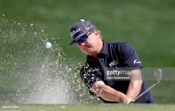 Charley Hoffman of the United States plays a shot from a bunker on the 15th hole during the second round of the Arnold Palmer Invitational Presented...
