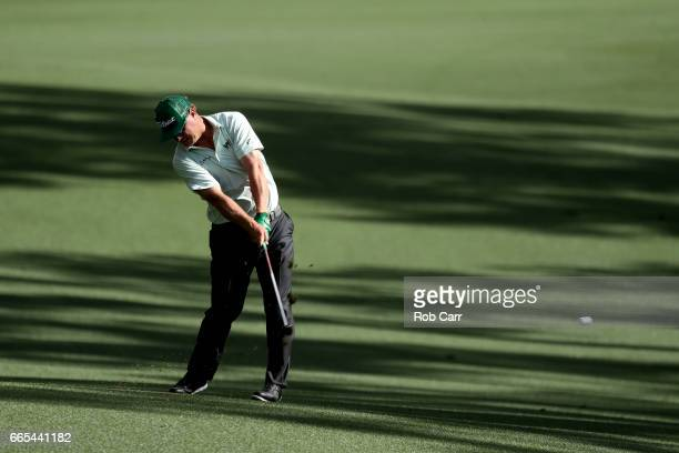 Charley Hoffman of the United States plays a shot on the 13th hole during the first round of the 2017 Masters Tournament at Augusta National Golf...
