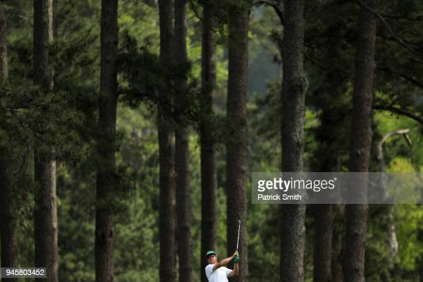 Charley Hoffman of the United States plays a shot on the eighth hole during the second round of the 2018 Masters Tournament at Augusta National Golf...
