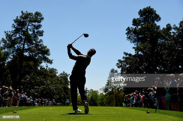 Charley Hoffman of the United States plays a tee shot on the ninth hole during the second round of the 2017 Masters Tournament at Augusta National...