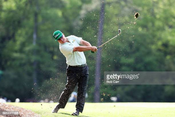 Charley Hoffman of the United States plays his second shot on the 14th hole during the first round of the 2017 Masters Tournament at Augusta National...