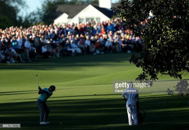 Charley Hoffman of the United States plays his second shot on the 18th hole during the third round of the 2017 Masters Tournament at Augusta National...