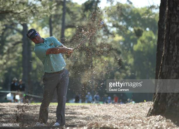Charley Hoffman of the United States plays his second shot on the 14th hole during the third round of the 2017 Masters Tournament at Augusta National...