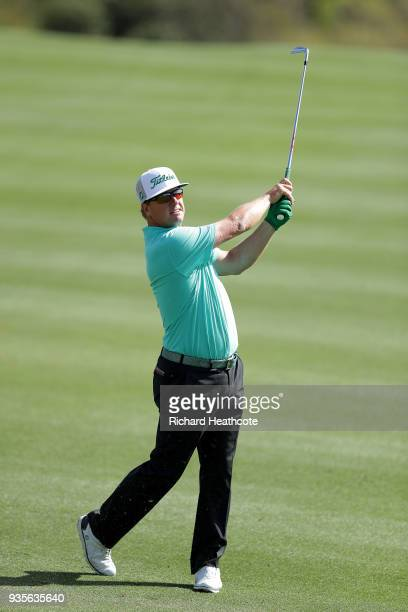 Charley Hoffman of the United States plays his second shot on the second hole during the first round of the World Golf ChampionshipsDell Match Play...