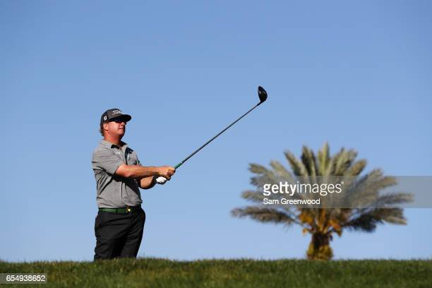 Charley Hoffman of the United States plays his shot from the 16th tee during the third round of the Arnold Palmer Invitational Presented By...