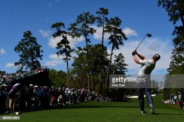 Charley Hoffman of the United States plays his shot from the 18th tee during the second round of the 2017 Masters Tournament at Augusta National Golf...