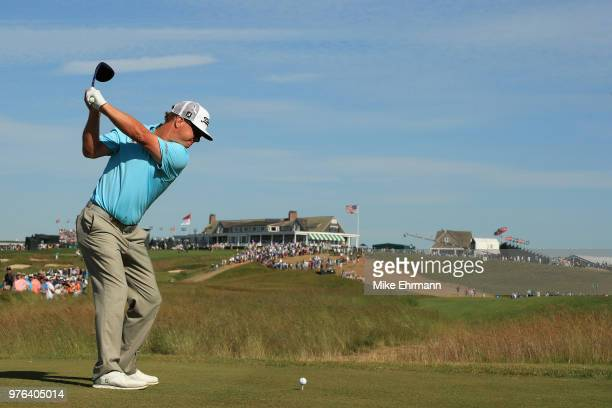 Charley Hoffman of the United States plays his shot from the ninth tee during the third round of the 2018 U.S. Open at Shinnecock Hills Golf Club on...