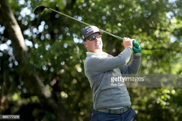 Charley Hoffman of the United States plays his shot from the second tee during the second round of the 2017 Masters Tournament at Augusta National...