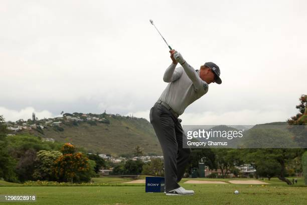 Charley Hoffman of the United States plays his shot from the seventh tee during the final round of the Sony Open in Hawaii at the Waialae Country...