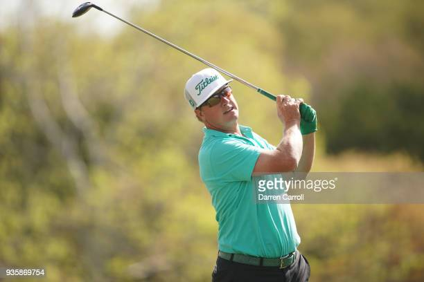 Charley Hoffman of the United States plays his shot from the third tee during the first round of the World Golf ChampionshipsDell Match Play at...