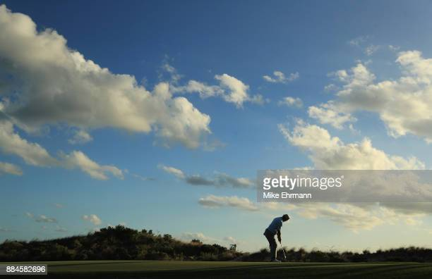 Charley Hoffman of the United States putts during the third round of the Hero World Challenge at Albany Bahamas on December 2 2017 in Nassau Bahamas