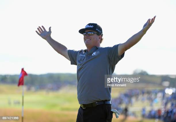 Charley Hoffman of the United States reacts after finishing on the 18th green during the final round of the 2017 US Open at Erin Hills on June 18...