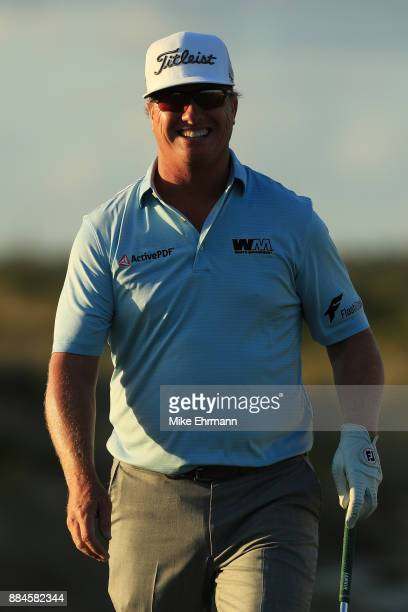 Charley Hoffman of the United States reacts on the 17th green during the third round of the Hero World Challenge at Albany Bahamas on December 2 2017...