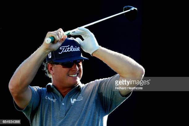 Charley Hoffman of the United States reacts to his shot from the 18th tee during the third round of the Arnold Palmer Invitational Presented By...
