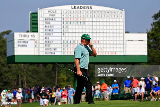 Charley Hoffman of the United States walks across the 17th green during the first round of the 2015 Masters Tournament at Augusta National Golf Club...