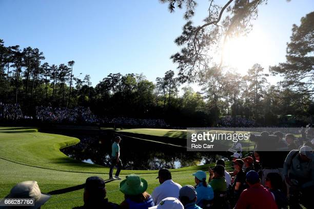 Charley Hoffman of the United States walks to the 15th green during the third round of the 2017 Masters Tournament at Augusta National Golf Club on...