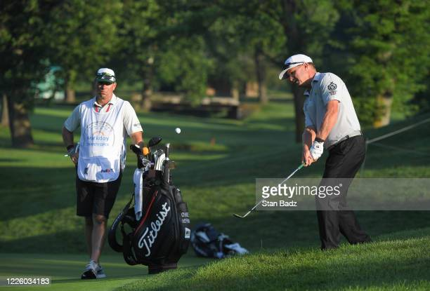 Charley Hoffman plays a chip shot on the third hole during the second round of the Workday Charity Open at Muirfield Golf Club on July 10, 2020 in...