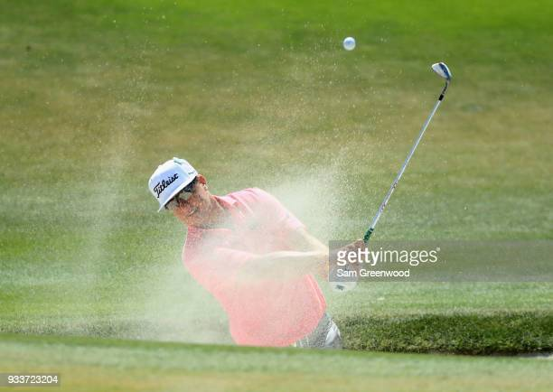 Charley Hoffman plays a shot from a bunker on the second hole during the final round at the Arnold Palmer Invitational Presented By MasterCard at Bay...