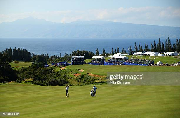Charley Hoffman plays a shot from the 18th fairway during the third round of the Hyundai Tournament of Champions at Plantation Course at Kapalua Golf...