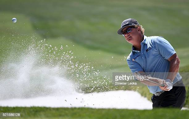 Charley Hoffman plays a shot from the bunker on the fifth hole during the third round of the 2016 RBC Heritage at Harbour Town Golf Links on April 16...