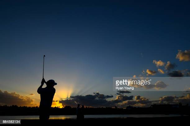 Charley Hoffman plays a shot on the 18th hole during the third round of the Hero World Challenge at Albany course on December 2 2017 in Nassau Bahamas