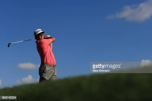 Charley Hoffman plays his shot from the 14th tee during the final round at the Arnold Palmer Invitational Presented By MasterCard at Bay Hill Club...