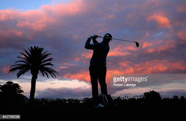Charley Hoffman plays his shot from the first tee during the third round at the Genesis Open at Riviera Country Club on February 18 2017 in Pacific...