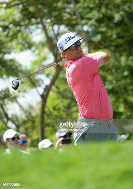 Charley Hoffman plays his shot from the third tee during the final round at the Arnold Palmer Invitational Presented By MasterCard at Bay Hill Club...