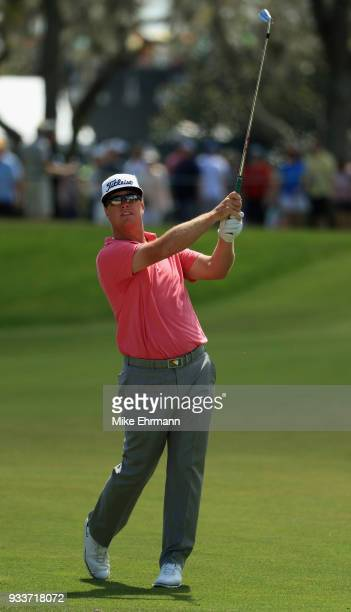 Charley Hoffman plays his shot on the first hole during the final round at the Arnold Palmer Invitational Presented By MasterCard at Bay Hill Club...