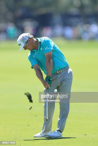Charley Hoffman plays his shot on the first hole during the third round at the Arnold Palmer Invitational Presented By MasterCard at Bay Hill Club...