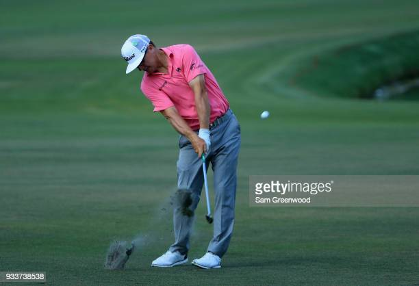 Charley Hoffman plays his shot on the sixth hole during the final round at the Arnold Palmer Invitational Presented By MasterCard at Bay Hill Club...