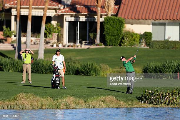 Charley Hoffman plays the eighteenth hole of La Quinta Country Club Course during the first round of the Humana Challenge in partnership with the...