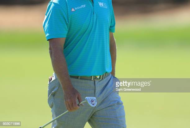 Charley Hoffman prepares to putt on the first hole during the third round at the Arnold Palmer Invitational Presented By MasterCard at Bay Hill Club...