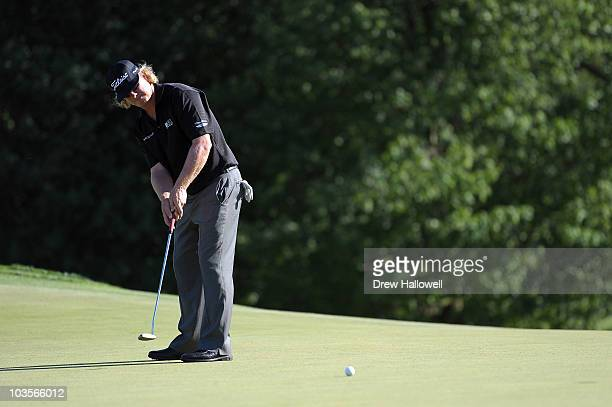 Charley Hoffman reacts after he missed a putt on the ninth hole during the second round of the AT&T National at Aronimink Golf Club on July 2, 2010...