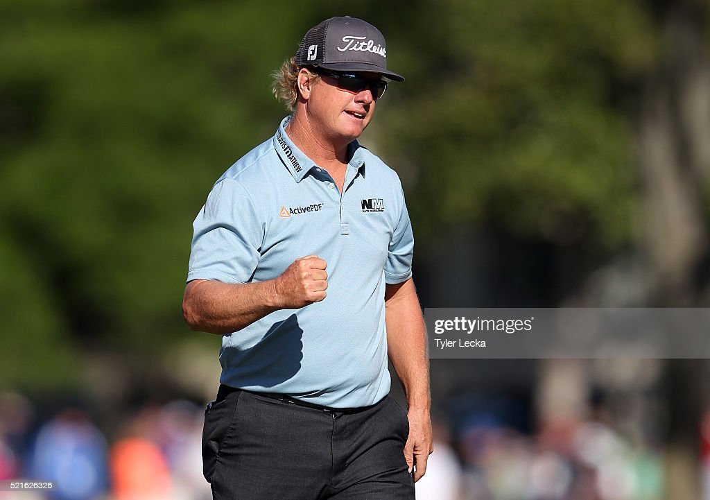 Charley Hoffman reacts after his birdie putt on the 17th hole during the third round of the 2016 RBC Heritage at Harbour Town Golf Links on April 16, 2016 in Hilton Head Island, South Carolina.