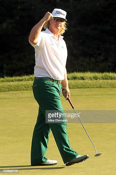 Charley Hoffman reacts on the 18th hole during the final round of the Deutsche Bank Championship at TPC Boston on September 6, 2010 in Norton,...