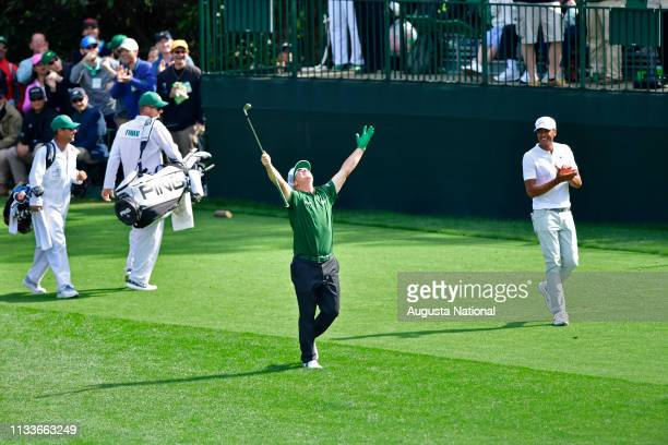 Charley Hoffman reacts to his hole in one at No 16 during the final round of the Masters at Augusta National Golf Club Sunday April 8 2018