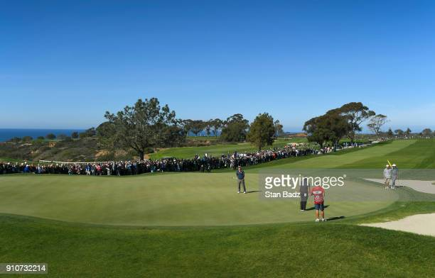 Charley Hoffman reacts to his putt on the 18th green during the second round of the Farmers Insurance Open at Torrey Pines north on January 26 2018...