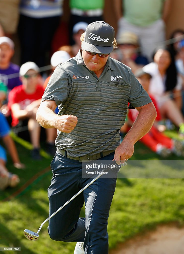 Charley Hoffman reacts to his putt on the 18th hole during the final round of the Valero Texas Open at TPC San Antonio AT&T Oaks Course on April 24, 2016 in San Antonio, Texas.