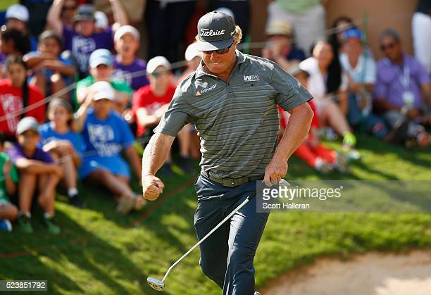 Charley Hoffman reacts to his putt on the 18th hole during the final round of the Valero Texas Open at TPC San Antonio ATT Oaks Course on April 24...