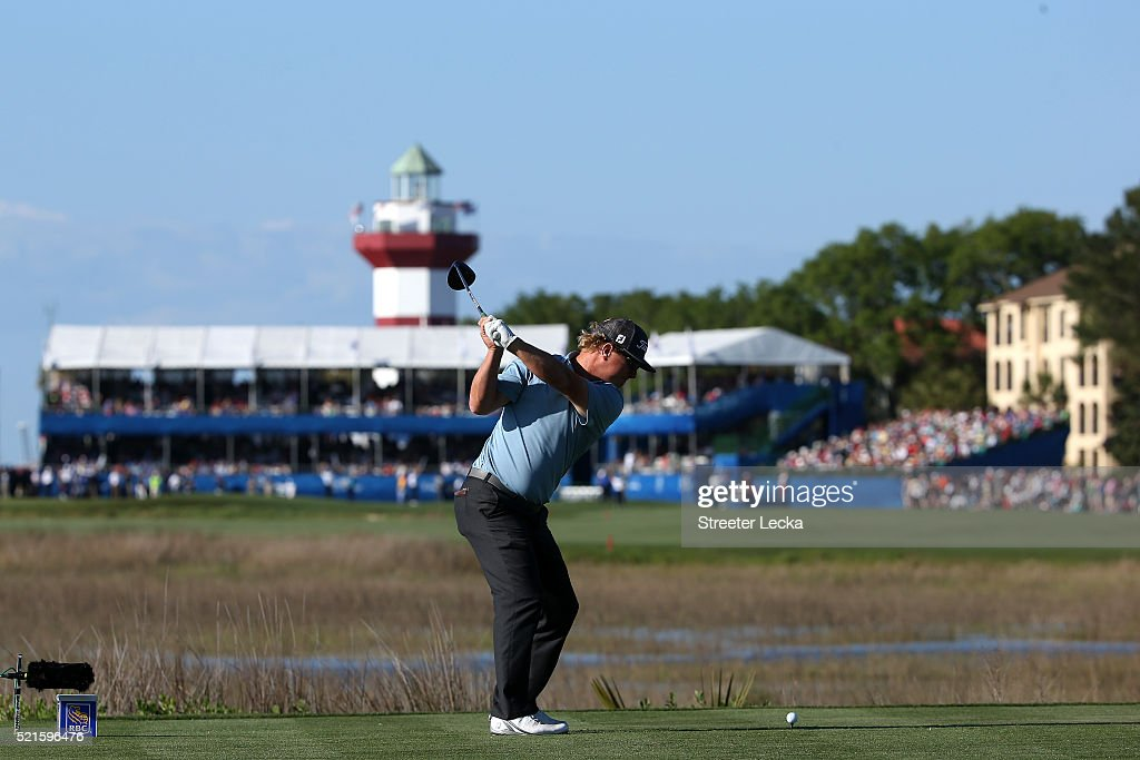Charley Hoffman tees off on the 18th hole during the third round of the 2016 RBC Heritage at Harbour Town Golf Links on April 16, 2016 in Hilton Head Island, South Carolina.